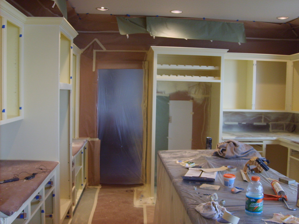 Interior gig harbor cabinets refinished- during