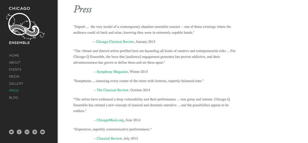 Chicago Q Ensemble press page, 2015