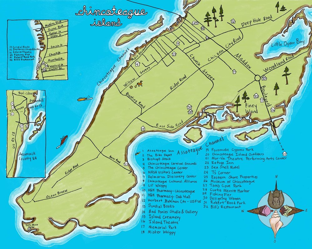 Chincoteague map hand-drawn and colored by Joanna King.