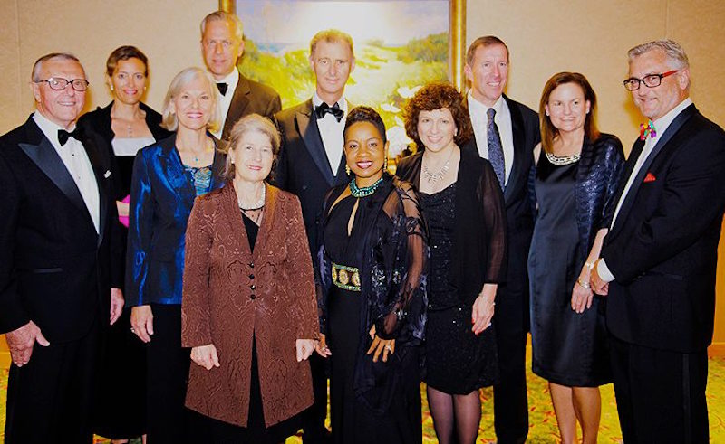 Members of Bank of Bermuda Foundation, our 2015 awardees, with Pathways Executive Director Gita Blakeney Saltus (centre), director Rees Fletcher (right), Governor George Fergusson (centre back), Premier Michael and Pam Dunkley (2nd and 3rd right).