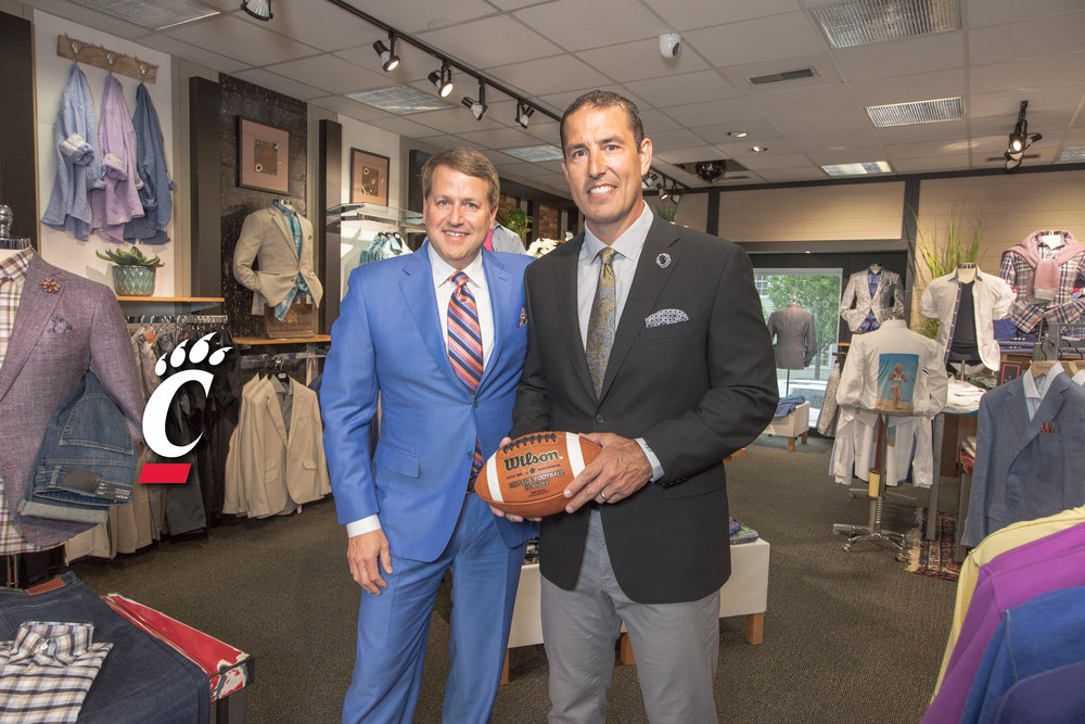 Blaine's proprietor Chuck Hellman with Luke Fickell, new head football coach for UC