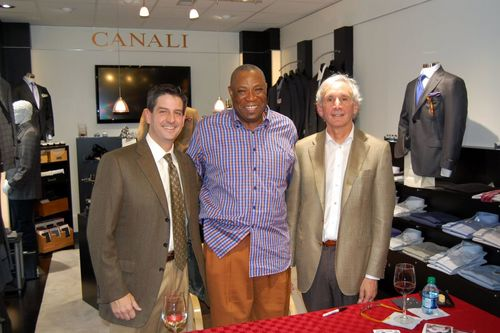 Former Cincinnati Reds manager and now front office executive for the San Francisco Giants Dusty Baker with Blaine's sales manager Bryan Witherspoon and good friend and customer Dr. Joel Korelitz.