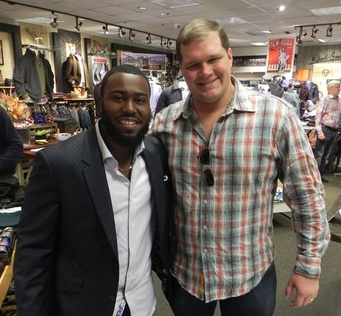 Josh Harrison, Cincinnati athlete and Pittsburgh Pirates all-star spending time at Blaine's Fine Men's Apparel with our good friend and customer Chip Heidt.