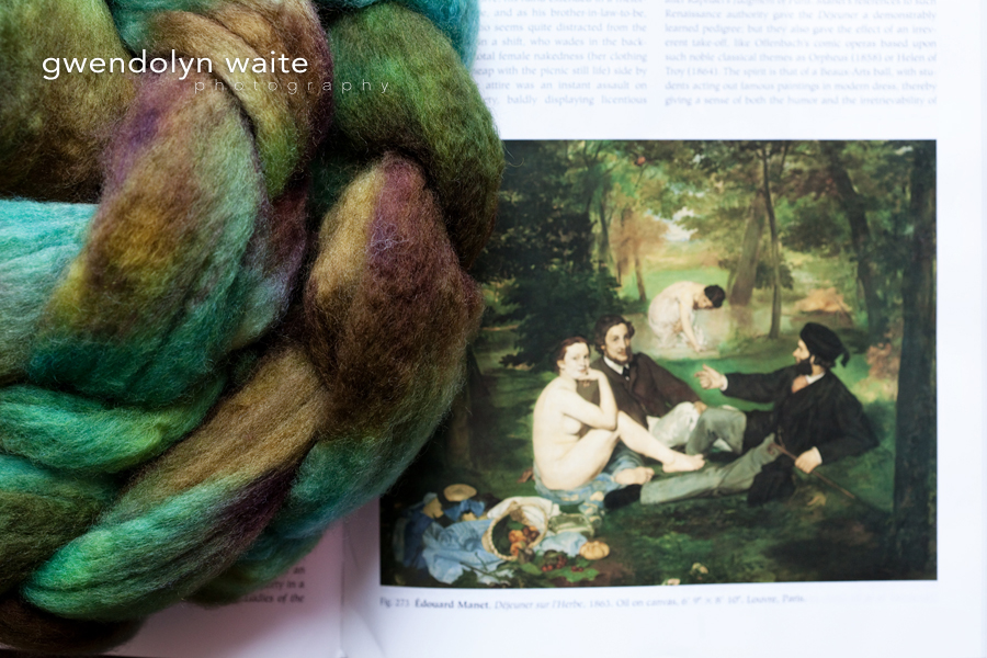 Hand spun hand dyed yarn inspired by works of art