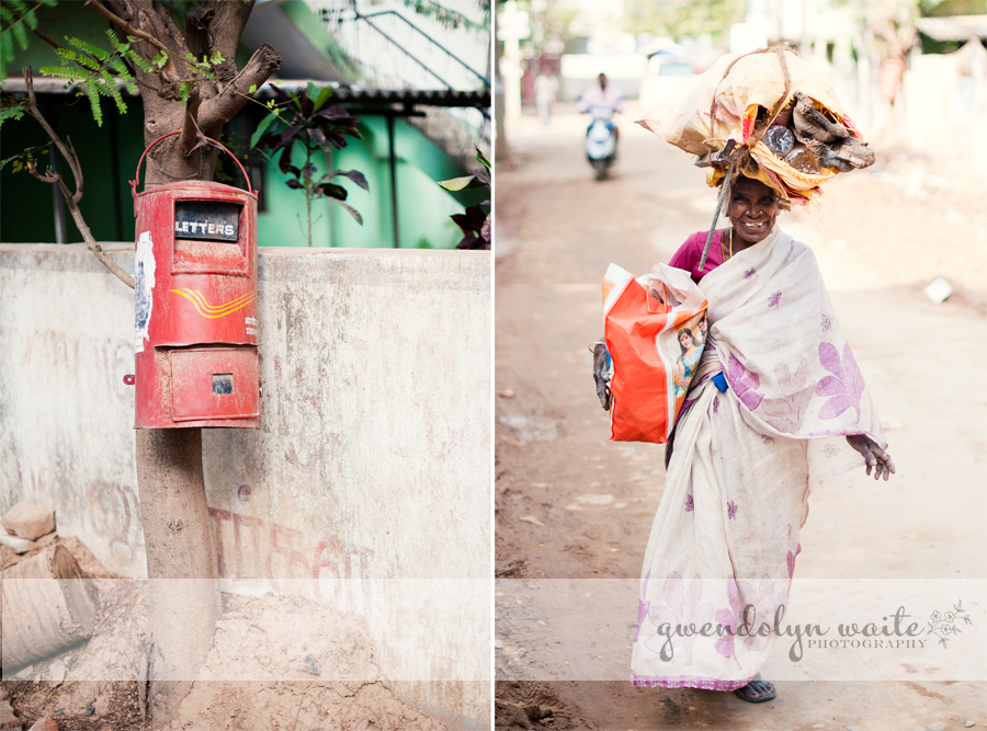 Chennai India letter box woman balancing load on head