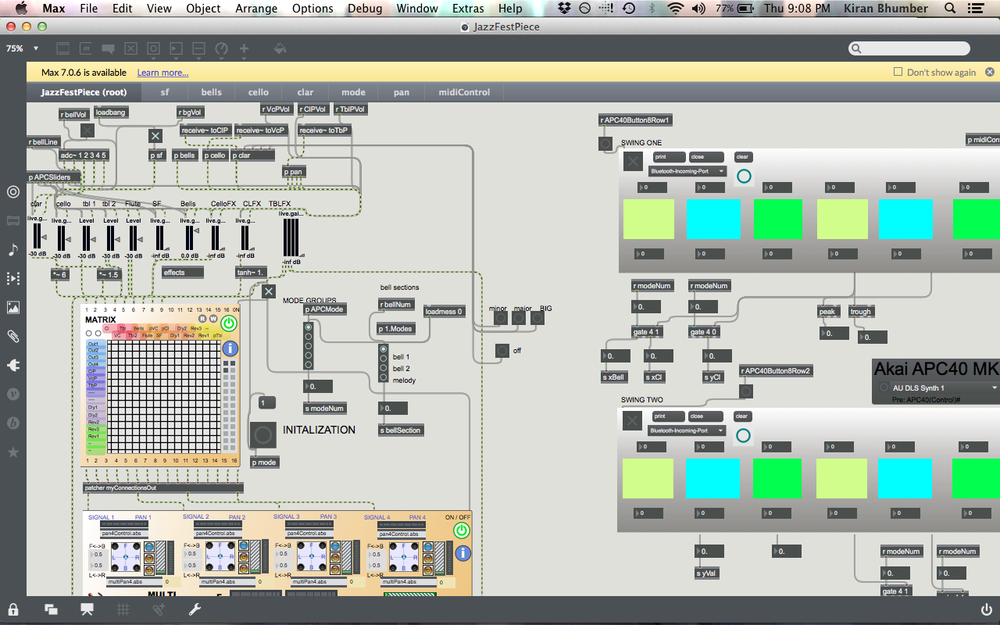 Max/MSP patch used to program installation and performance