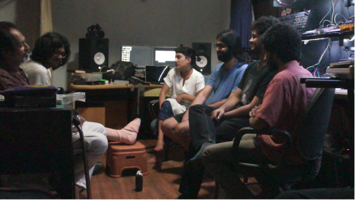 Kiran Bhumber conducting and interview with (left to right) Culture Monks director Sudipta Dawn, Listening Room director Rana Ghose, DJ/synthesizer builder Varun Desai, and noise duo Jessop & Co. Calcutta, June 22, 2017.