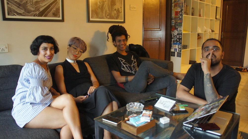Interviewing artists in Mumbai with Nancy Lee; Left to Right: Kiran Bhumber, Nancy Lee, Arman Menzies (Zokhuma) and Ashish Jose(Tarqeeb)