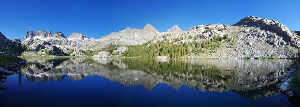 Panorama of Ediza Lake, the Minaret Range, Mt. Banner & Mt. Ritter in Ansel Adams Wilderness