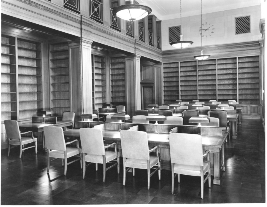 West Room, empty of books, circa 1936.