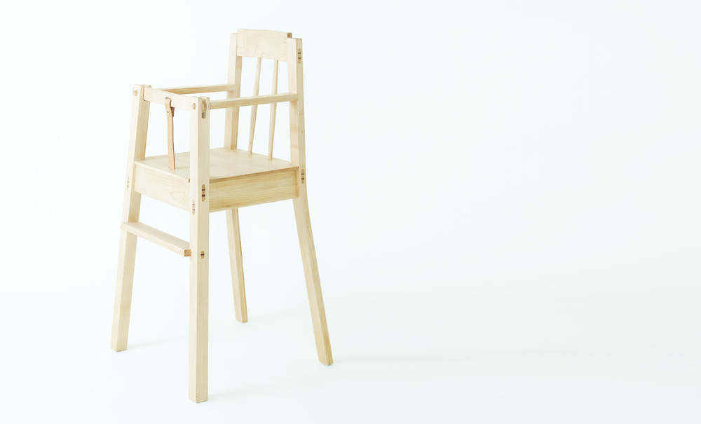 A chair that pulls right up to the table, so your child can join in the family meal from day one. Approximately 6 months to 4 years   Quality  Sustainable, local hardwoods, hand-picked for quality + character, solid wood joinery   Materials  Maple, black-walnut, mix-medium, leather   Stains  Natural, whitewash