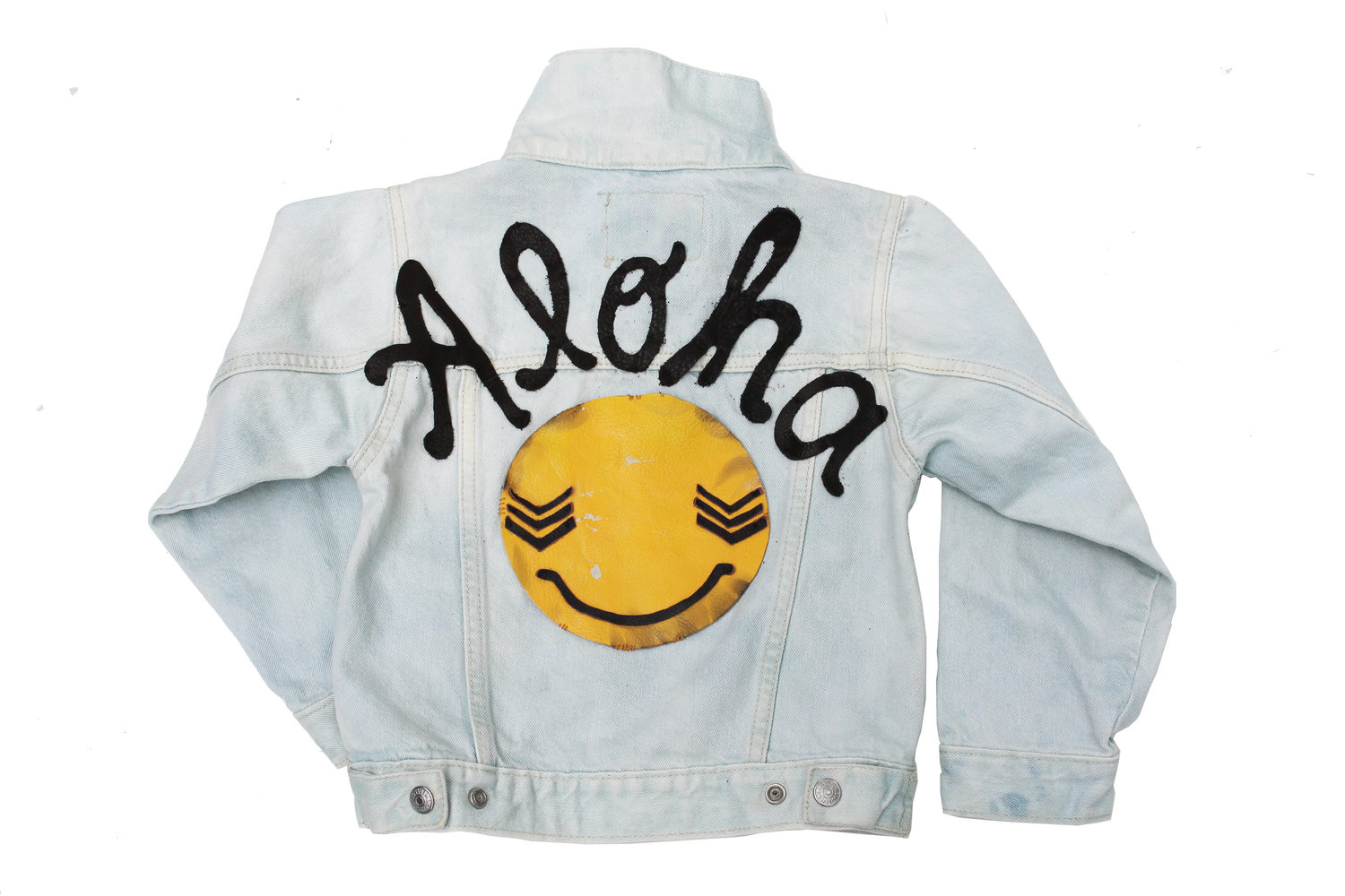Aloha script leather applique vintage levis size 4t u2014 l. a. s.