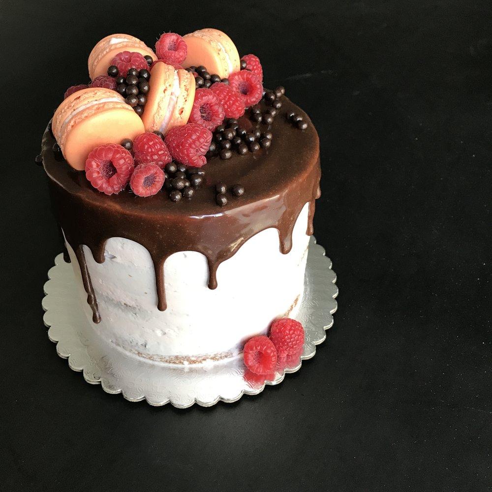 Chocolate Raspberry (Seasonal) - dark chocolate cake, passionfruit syrup, raspberry buttercream, fresh berries