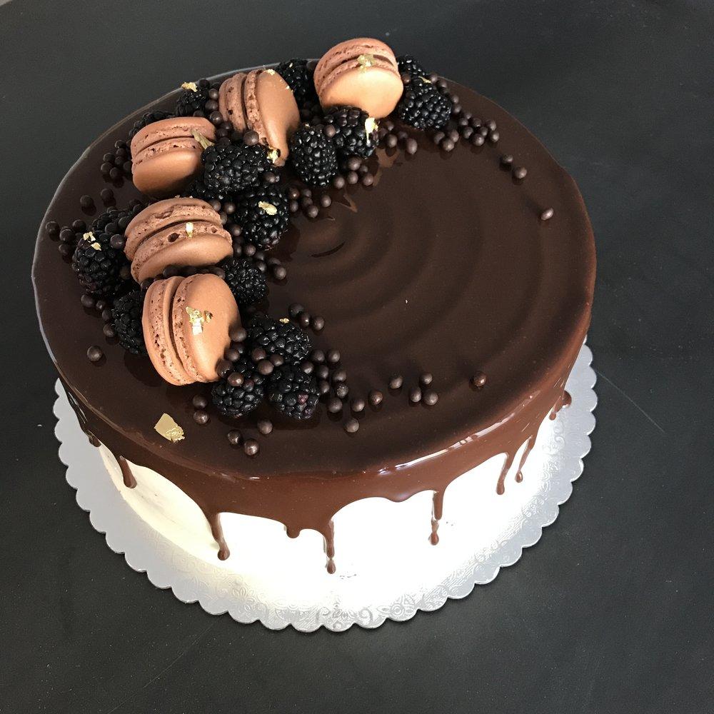 Chocolate Apricot (Seasonal) - dark chocolate cake, elderflower syrup, apricot preserves