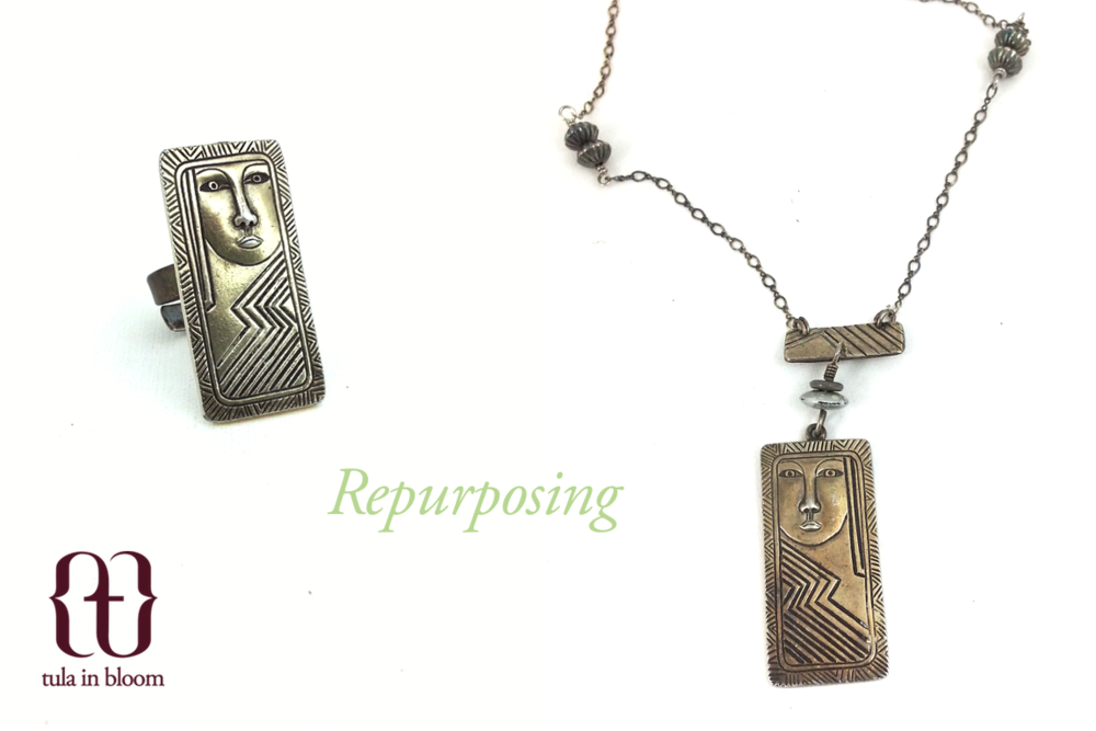 Custom order: repurposed a broken pair of Laurel Burch sterling silver earrings into a necklace and ring set.