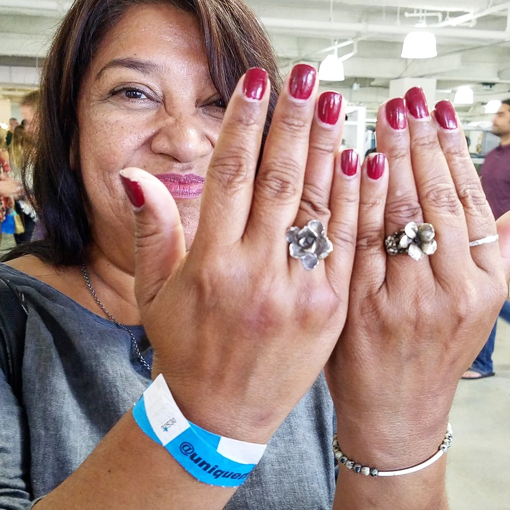 This lovely lady found a tula in bloom ring that nearly matched her own! Hers is on the left, and mine is on the right.