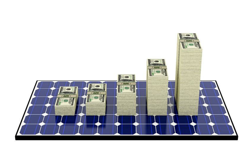 A-solar-panel-with-five-stacks-of-money-on-top-of-it.jpg
