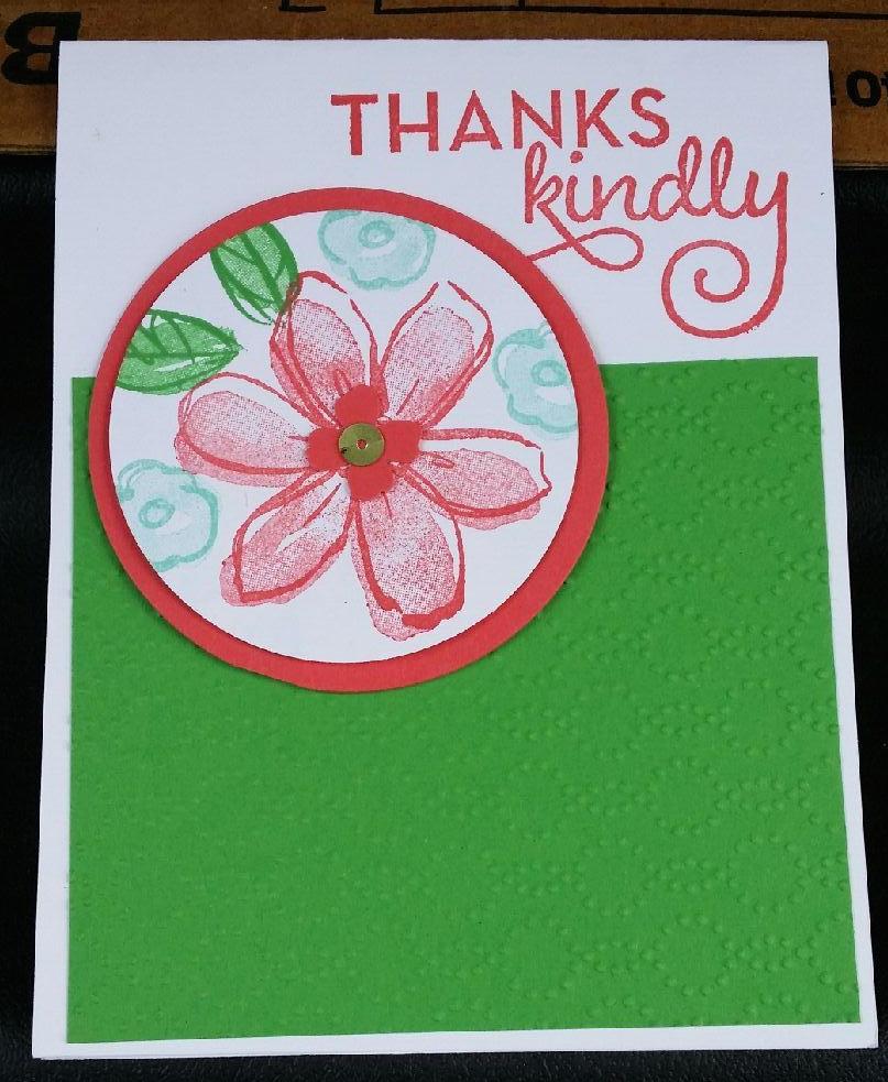 This card features two brand new stamp sets, Garden in Bloom and One Big Meaning.  The Garden In Bloom is a two step stamp which is my favorite type of stamp to create with.