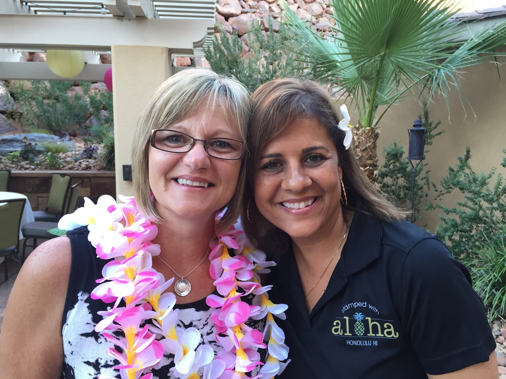 Sharing some Aloha with Frenchie at the 2015 Founder's Circle in St. George, Utah.