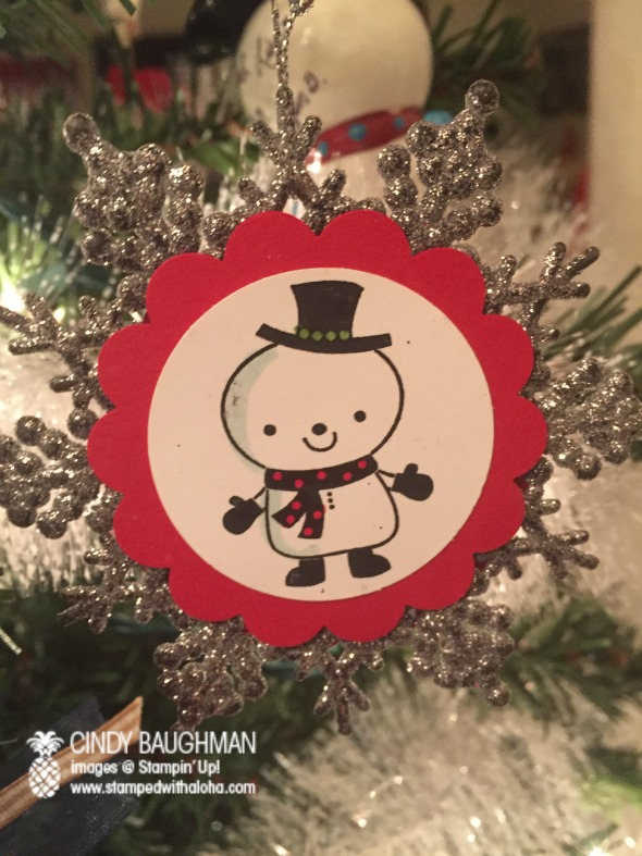 Snowman Ornament on a glitter snowflake