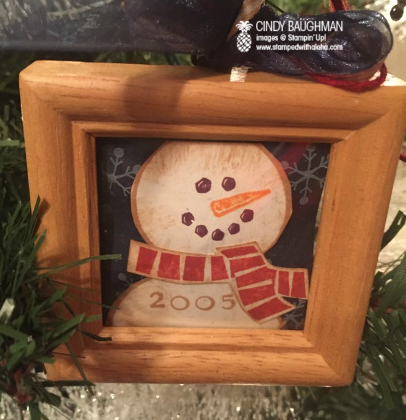 Snowman Ornament in a wooden frame