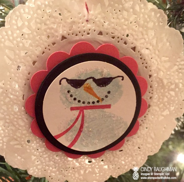 Snowman Ornament on a doily for a 50's themed party