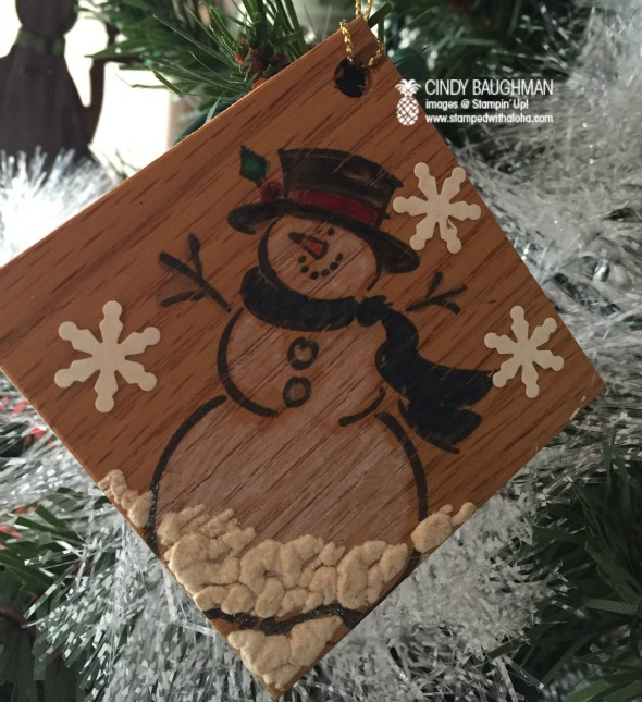 Snowman Ornament on Wood