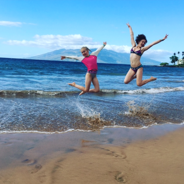 Fun on the beach with Lynsay's daughters
