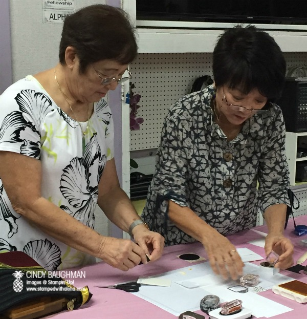 Faye and Karen working together - www.stampedwithaloha.com