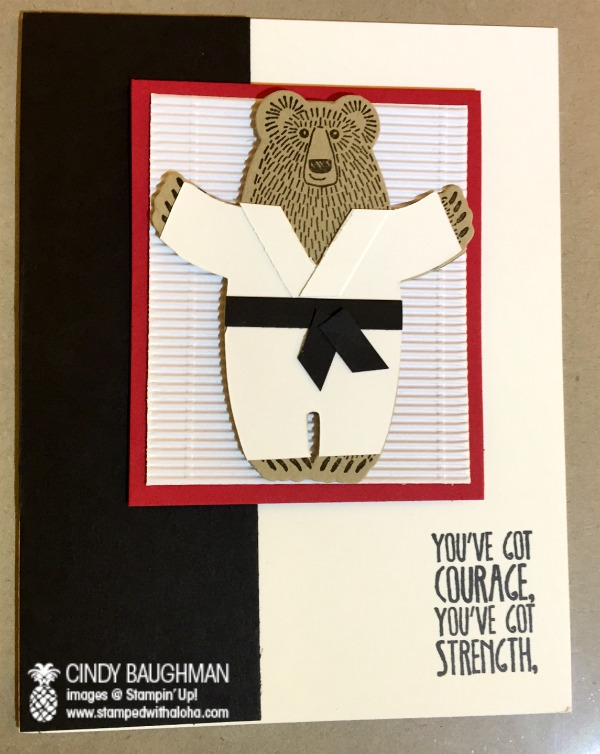 Bear Hugs Black Belt Card - www.stampedwithaloha.com