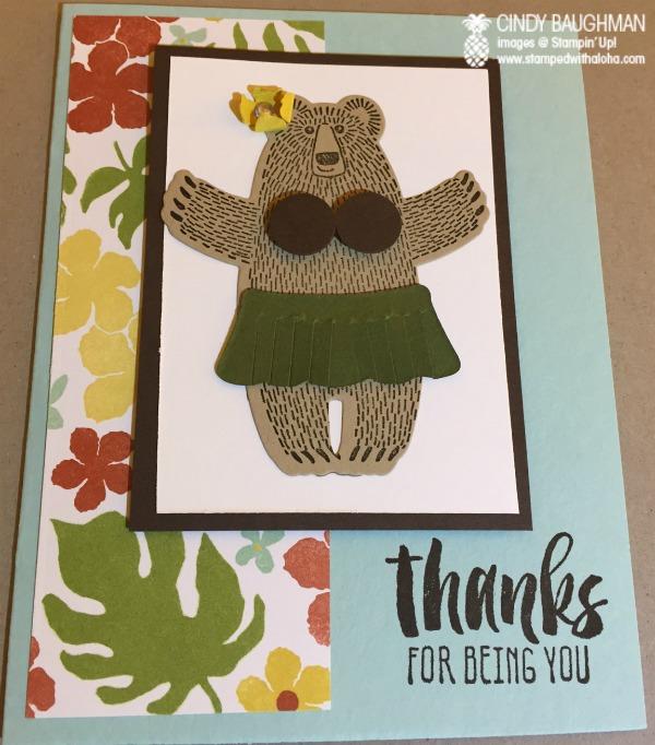 Bear Hugs Hula Bear Card - www.stampedwithaloha.com