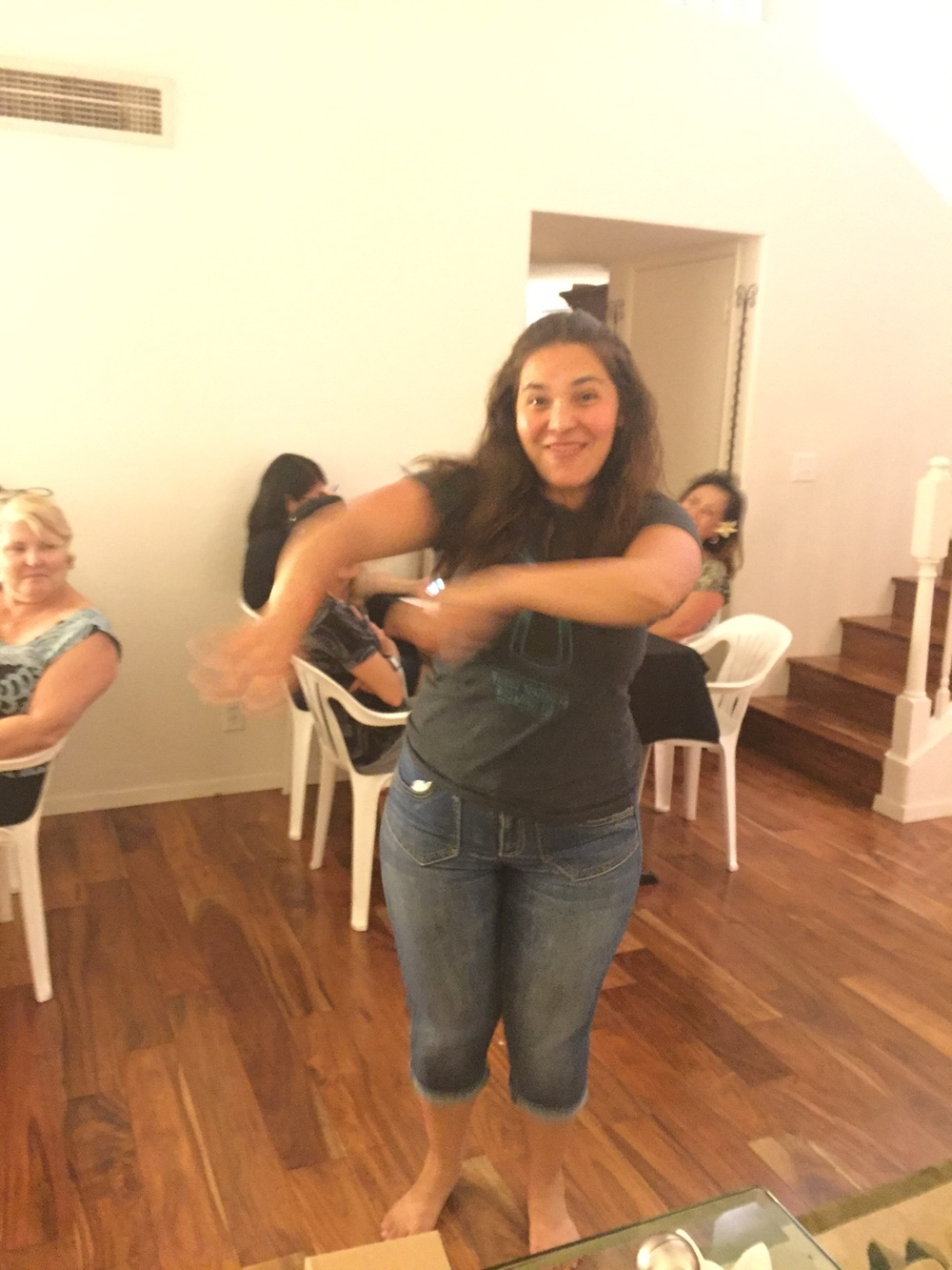 Elisa dancing at Bunco - www.stampedwithaloha.com