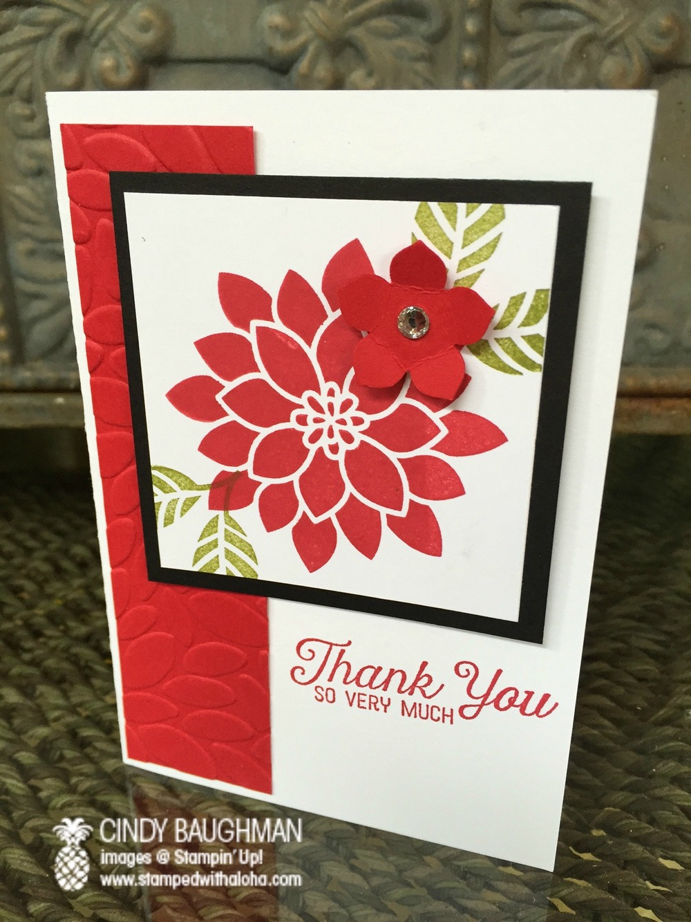 Flourishing Phrases Thank You card - www.stampedwithaloha.com