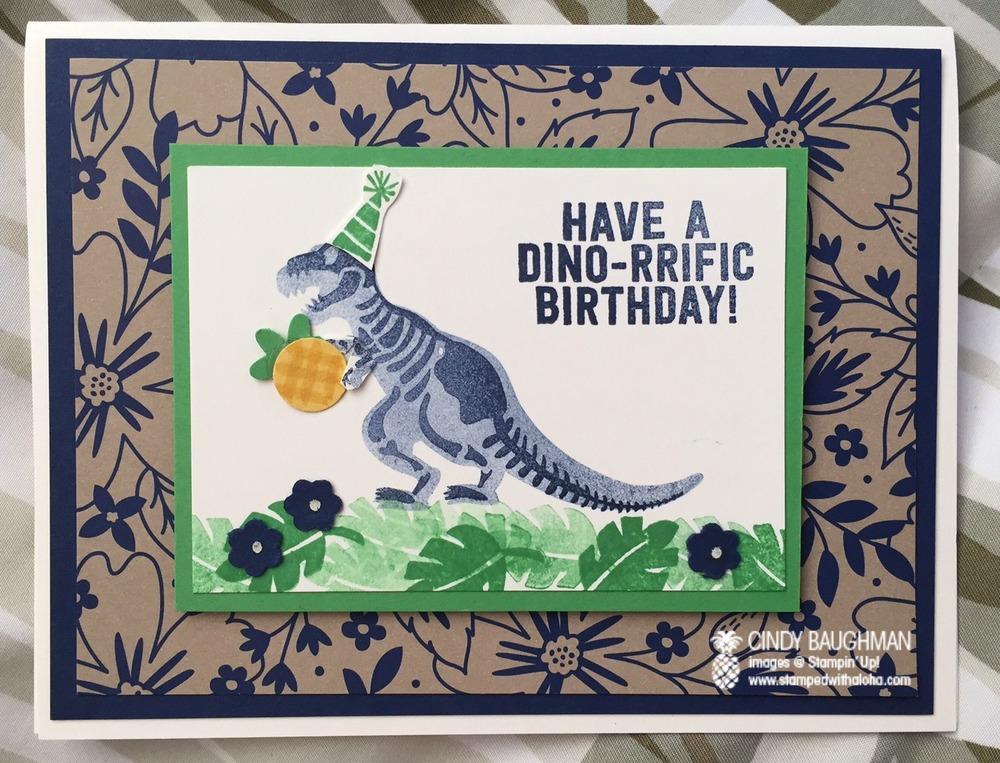 Dino-rrific Birthday Card - www.stampedwithaloha.com