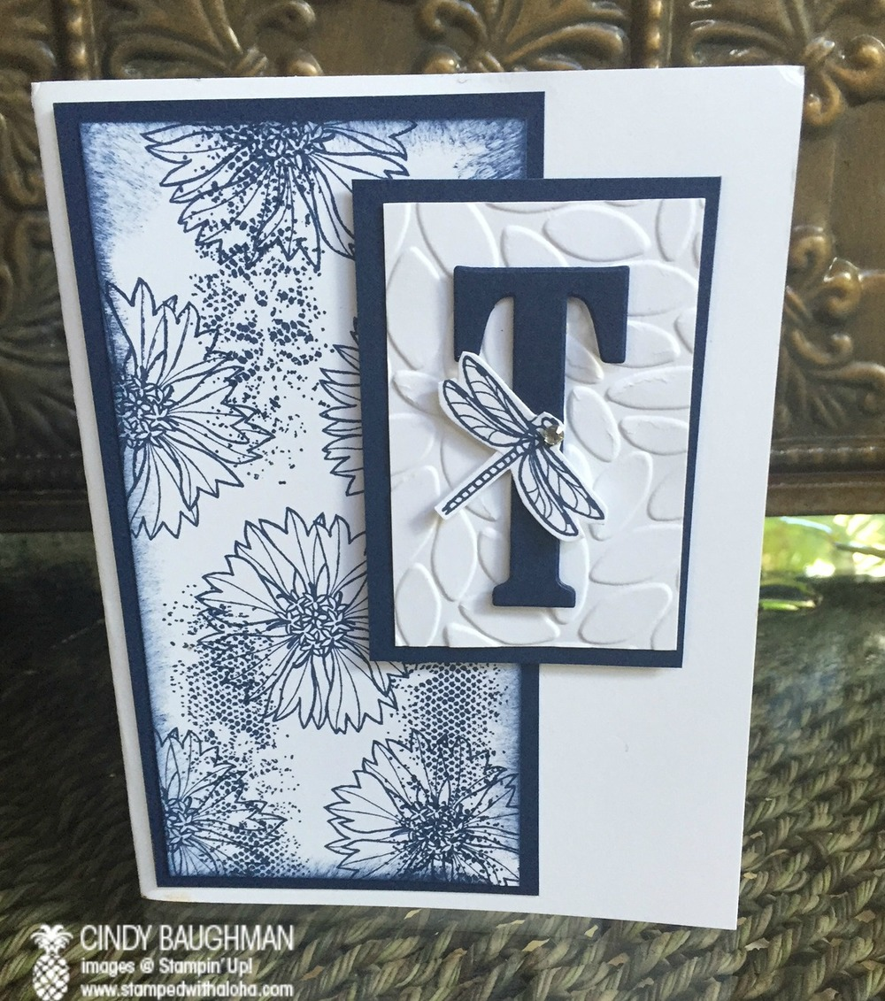Touches of Texture/Large Letter Monogram card - www.stampedwithaloha.com