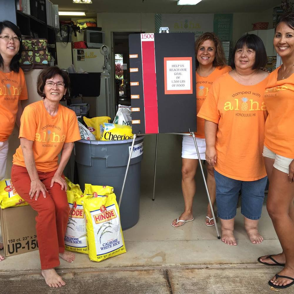 Collecting Food Donations for the Hawaii Foodbank - www.stampedwithaloha.com