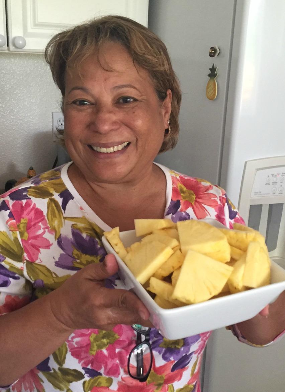 Rox prepares the pineapple - www.stampedwithaloha