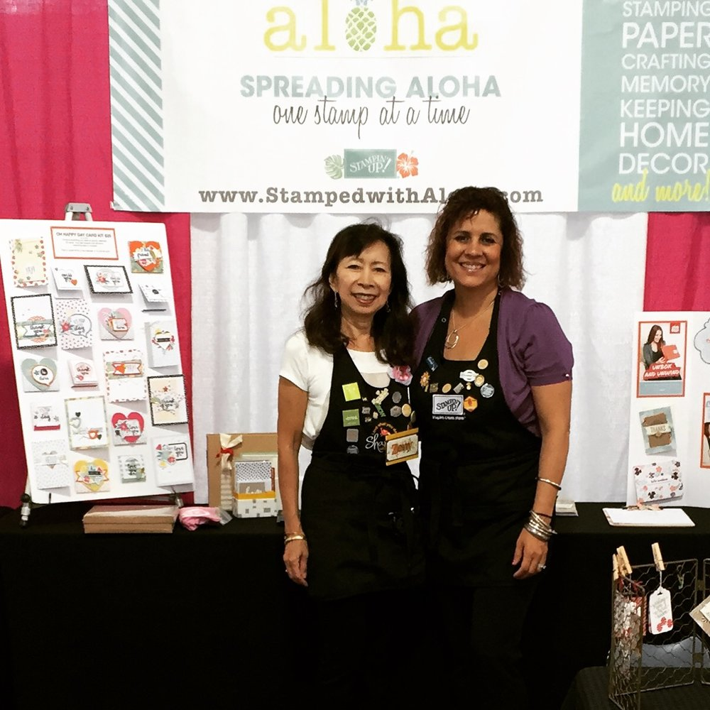 Zeny and Cindy at the Expo - www.stampedwithaloha.com