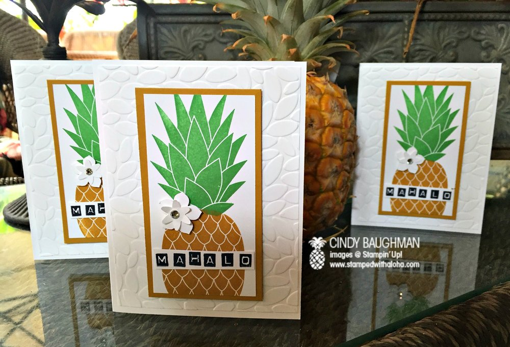 Pineapple Mahalo Cards - www.stampedwithaloha.com