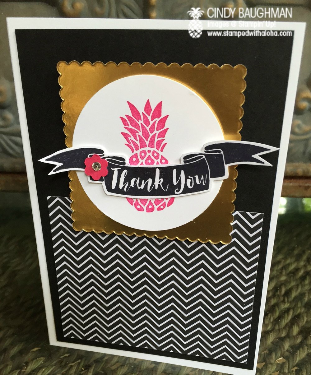 Pink Pineapple Thank You card - www.stampedwithaloha.com