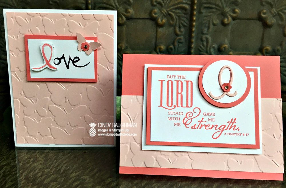 Breast Cancer Awareness Cards - www.stampedwithaloha.com