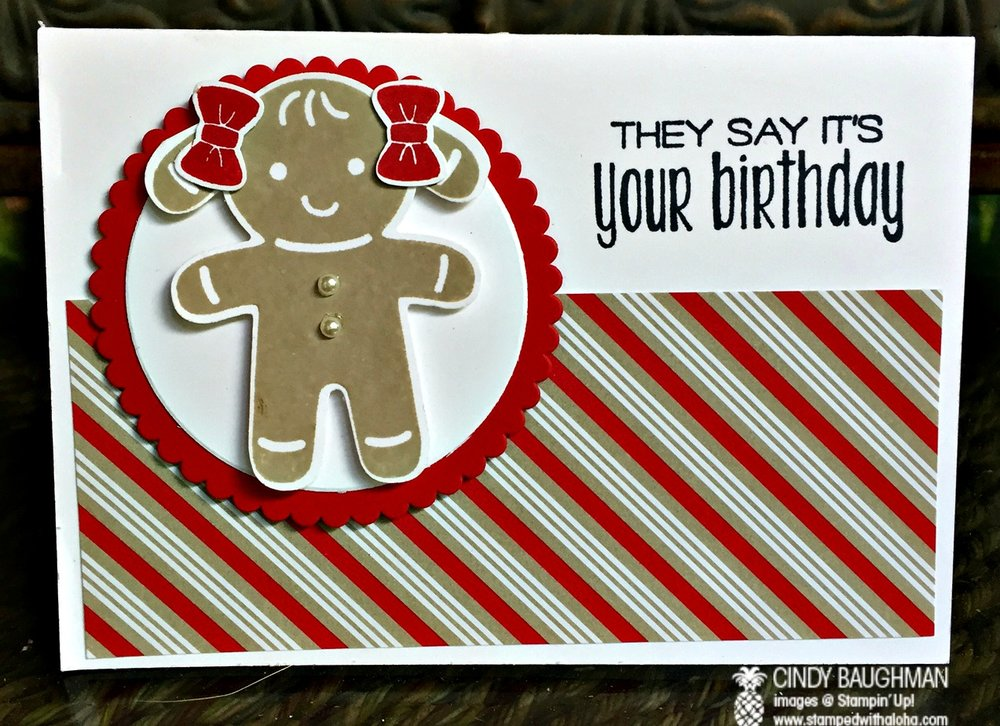 Cookie Cutter Christmas Birthday Card - www.stampedwithaloha.com