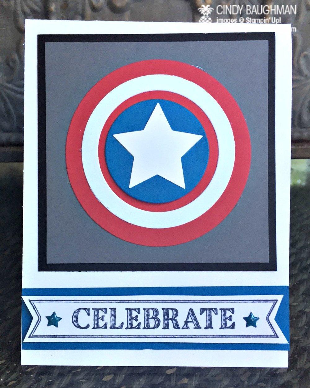Captain America Card - www.stampedwithaloha.com