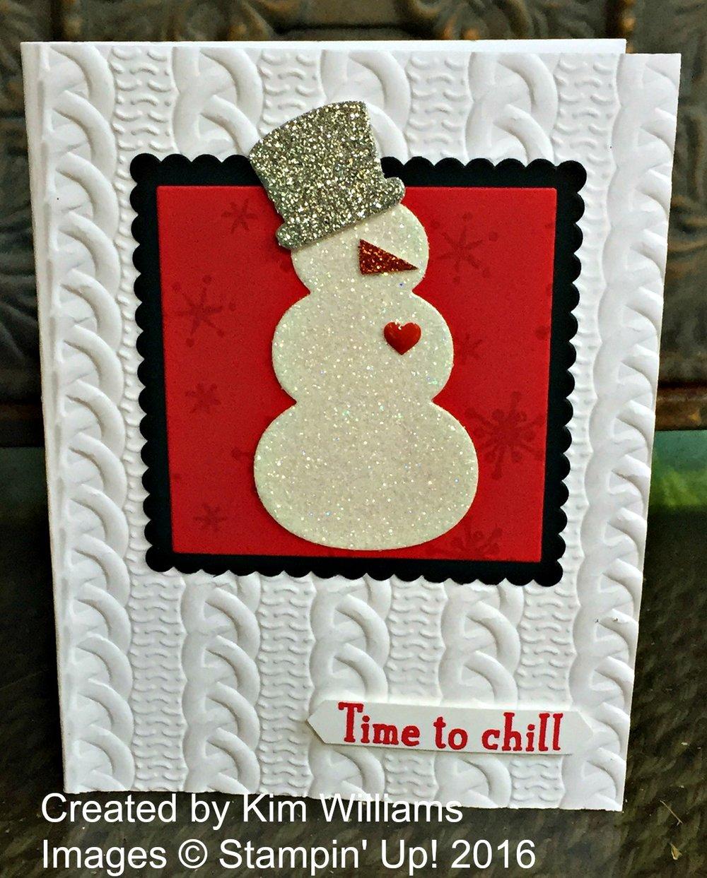 Kim's snowman card - www.stampedwithaloha.com