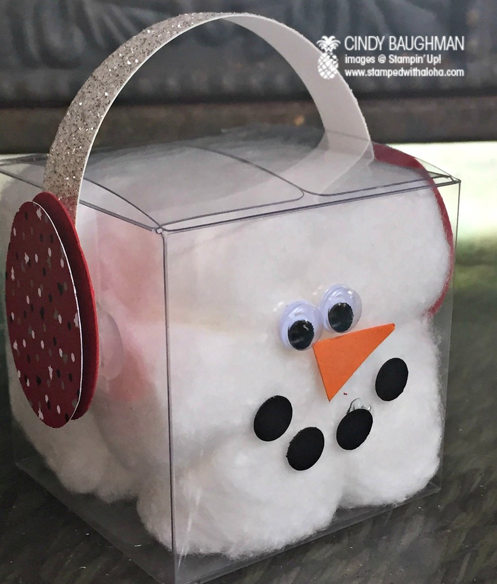 Clear Treat Box Snowman - www.stampedwithaloha.com