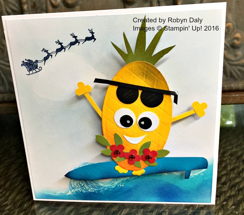 Surfing Pineapple Card - www.stampedwithaloha.com