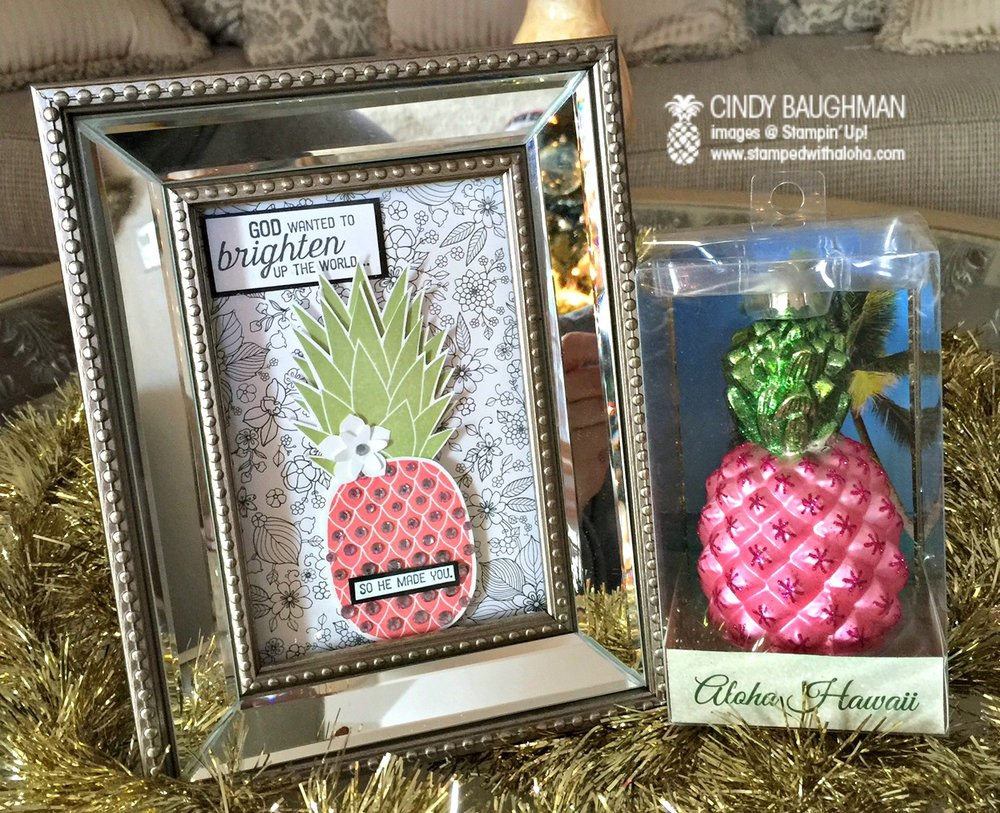 Pink Pineapple Frame and Ornament - www.stampedwithaloha.com