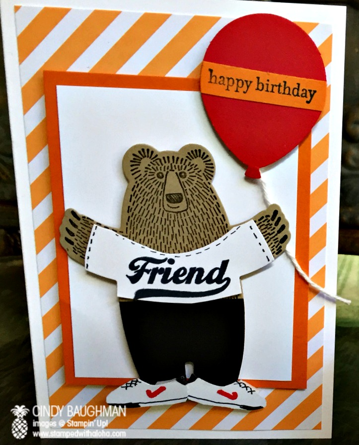 Bear Hugs Athlete Birthday Card - www.stampedwithaloha.com
