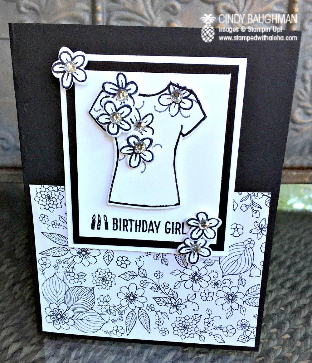 Custom Tee Birthday Card - www.stampedwithaloha.com