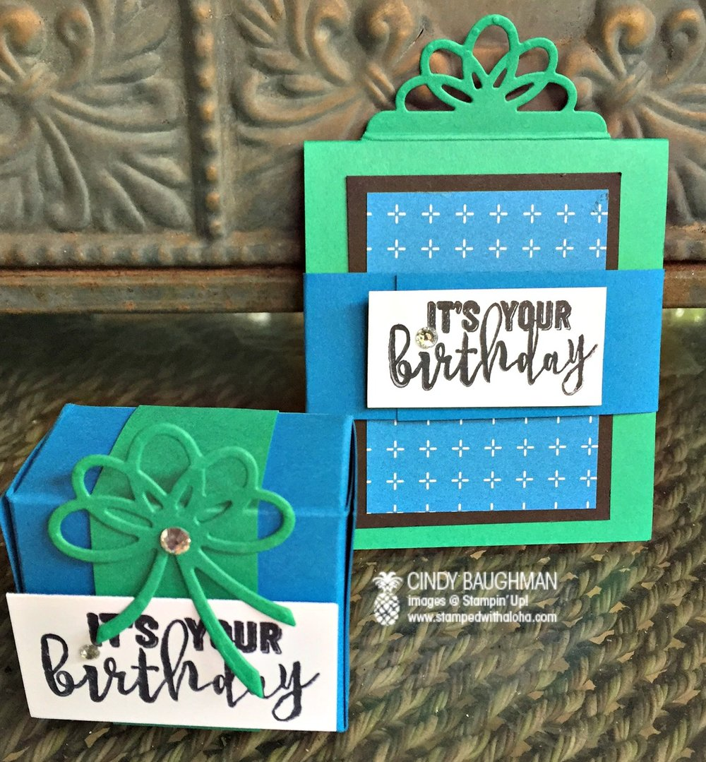 Birthday Favor Box and Birthday Box Gift Card Holder - www.stampedwithaloha.com